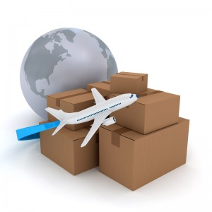 Cardboard packages with airplane over white 3d rendered image